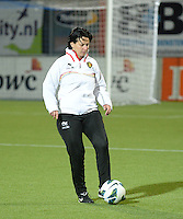 20140212 - ZWOLLE , THE NETHERLANDS : Belgian Assistant coach Tamara Cassimon pictured during the female soccer match between The Netherlands and Belgium , on the fifth matchday in group 5 of the UEFA qualifying round to the FIFA Women World Cup in Canada 2015 at Het Ijseldelta Stadion , Zwolle . Wednesday 12th February 2014 . PHOTO DAVID CATRY