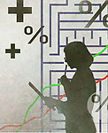 Profile of thoughtful business woman in front of maze, graph and symbols showing business analysis.