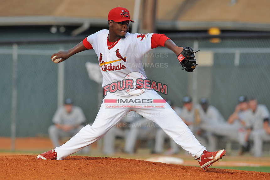 Johnson City Cardinals pitcher Jose Pasen #37 delivers a pitch during the first game of the 2011 Championship Series between the Bluefield Blue Jays and the Johnson City Cardinals at Howard Johnson Field on September 3, 2011 in Johnson City, Tennessee.  The Cardinals won the game 4-3.  (Tony Farlow/Four Seam Images)