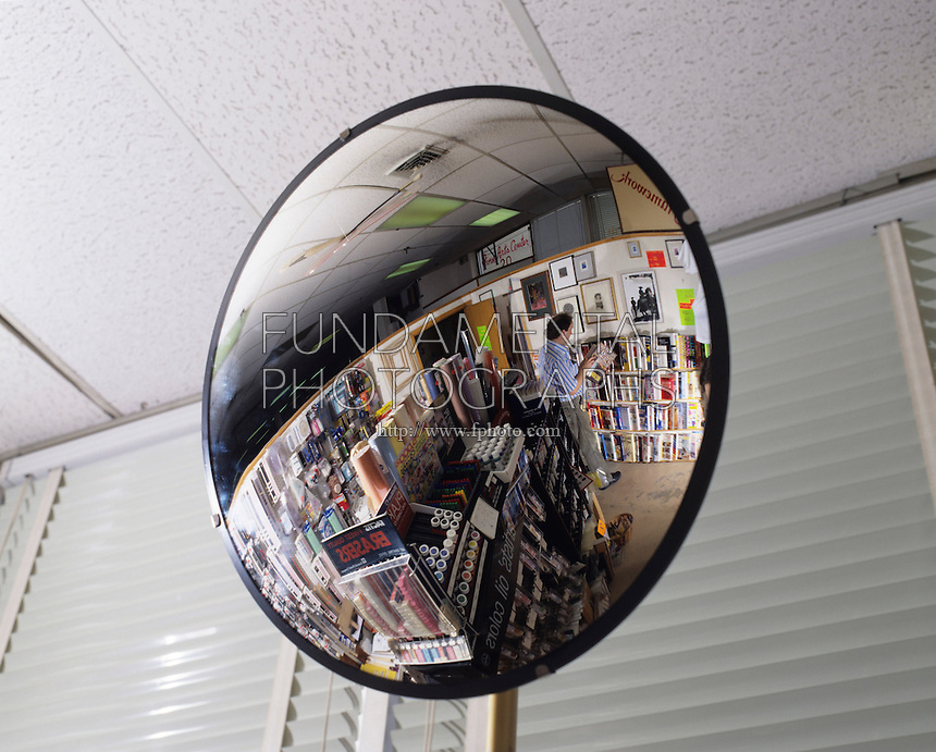 CONVEX MIRROR USED FOR STORE SECURITY<br /> Useful for wide angle viewing when distortion in shape is not important