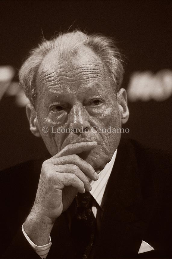 Willy Brandt, è stato un politico tedesco, Cancelliere della Repubblica Federale Tedesca dal 21 ottobre 1969 al 6 maggio 1974. Milano, 12 marzo 1986. Photo by Leonnardo Cendamo/Gettyimages