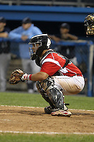 Batavia Muckdogs catcher Jesus Montero #55 during an exhibition game against the Newark Pilots of the Perfect Game Collegiate Baseball Lague at Dwyer Stadium on June 15, 2012 in Batavia, New York.  Batavia defeated Newark 8-0.  (Mike Janes/Four Seam Images)
