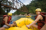 TURRIALBA, COSTA RICA- JANUARY 2, 2009:   Glenn Sáenz (L), 23, of Jersey City; and Meredith Miller (R), 23, of Queens; white-water raft on the Pacuare River with Rios Tropicales on January 2, 2009 in Turrialba, Costa Rica.    (Photo by Michael Nagle)