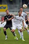 GER - Sandhausen, Germany, March 19: During the 2. Bundesliga soccer match between SV Sandhausen (white) and FC ST. Pauli (grey) on March 19, 2016 at Hardtwaldstadion in Sandhausen, Germany. (Photo by Dirk Markgraf / www.265-images.com) *** Local caption *** Daniel Buballa #15 of FC St. Pauli, Aziz Bouhaddouz #9 of SV Sandhausen