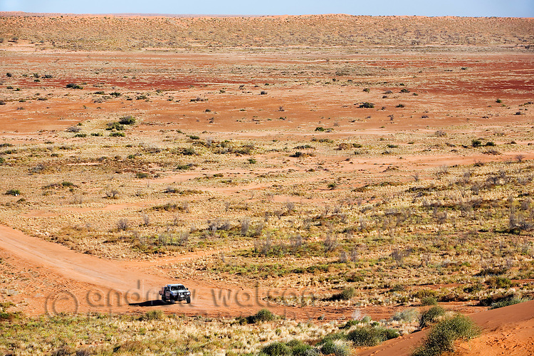A car drives through the arid landscape of the Simpson Desert National Park, near Birdsville, Queensland, Australia