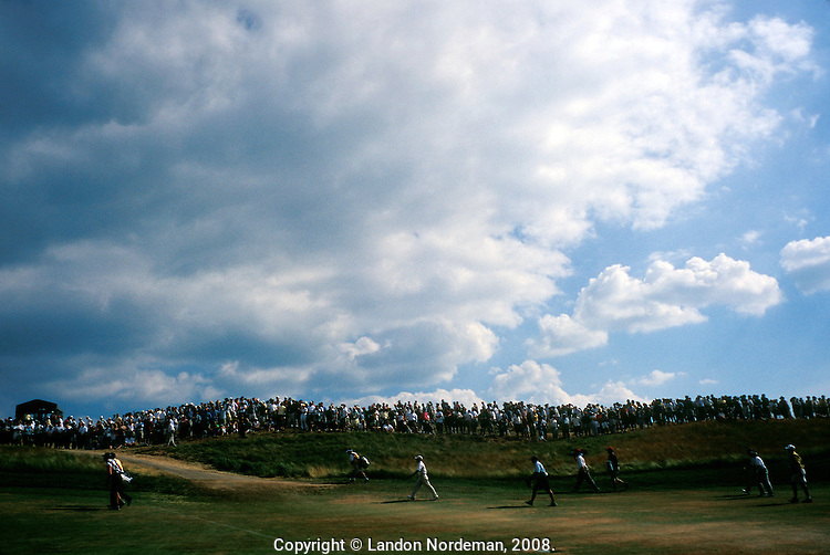 SOUTHAMPTON - JUN 20:  Players walk across the green at the 2004 US Open, played at Shinnecock Hills Golf Club in Southampton, NY in 2004.  (photo by Landon Nordeman)..
