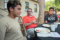 Robert Cushman, Head Coach, Football<br /> Incoming first-years participating in MSI have dinner with Oxy faculty and staff in the ICC backyard, July 31, 2018.<br /> The Multicultural Summer Institute (MSI) is a four-week academic/residential program for approximately 50 incoming first-year students who represent a variety of ethnic, regional and cultural backgrounds. Through MSI, Occidental College introduces its student body to the social, cultural and intellectual resources of Southern California, and familiarizes students with the Oxy community and surrounding Los Angeles area.<br /> (Photo by Marc Campos, Occidental College Photographer)
