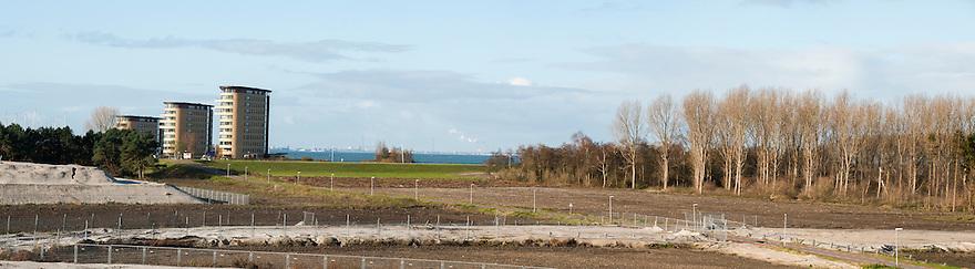 Nederland, Almere, 25 nov 2013<br /> Almere de Poort, westelijk deel van Almere waar uitbreidingsplannen zijn met wonen in / op het water richting Pampus.<br /> Samengesteld panorama.<br /> Foto: Michiel Wijnbergh