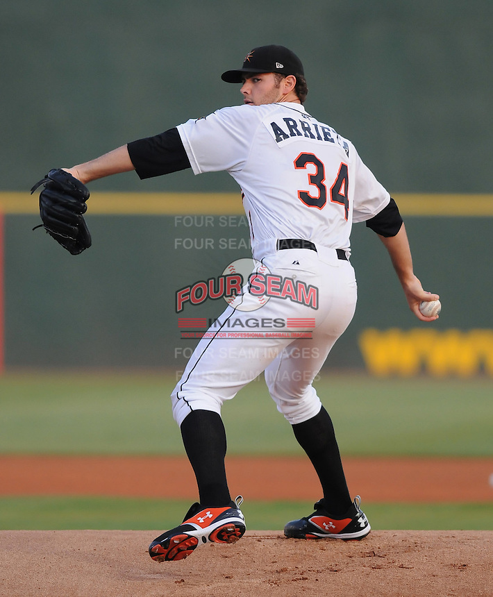 June 24, 2008: Jake Arrieta of the Frederick Keys at the Carolina-California All-Star Game on at BB&T Coastal Field in Myrtle Beach. Photo: Tom Priddy/Four Seam Images