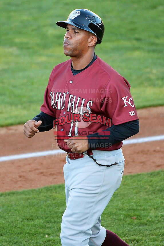 Omar Ramirez #11 manager of the Idaho Falls Chukars coaches third base during the Pioneer League game against the Ogden Raptors at Lindquist Field on June 22, 2013 in Ogden, Utah.  (Stephen Smith/Four Seam Images)