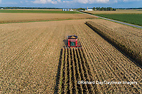 63801-12214 Harvesting corn in fall-aerial  Marion Co. IL