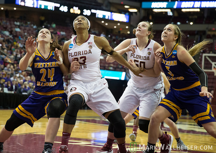 From left, Western Illinois guard Taylor Higginbotham, Florida State forward Ivey Slaughter, Florida State center Chatrice White and Western Illinois forward Olivia Braun wait for a rebound during the second half of a first-round game of the NCAA women's college basketball tournament in Tallahassee, Fla., Friday, March 17, 2017. Florida State defeated Westeren Illinois 87-66. (AP Photo/Mark Wallheiser)