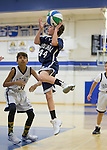 NJB Boys at LAHS.  January 22, 2017<br /> <br /> 48 blue  45 white<br /> <br /> <br /> Beck Aronowitz goes up for a shot. NJB Boys at LAHS.  January 22, 2017