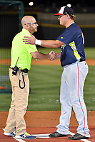 Sheldon Neuse of the Hagerstown Sun is congratulated by John Katz of the Columbia Fireflies after winning the home run derby as part of the All Star Game festivities at Spirit Communications Park on June 19, 2017 in Columbia, South Carolina. The Soldiers defeated the Celebrities 1-0. (Tony Farlow/Four Seam Images)