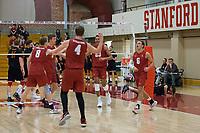 STANFORD, CA - December 30, 2017: Eric Beatty, Leo Henken, Russell Dervay, Jaylen Jasper, Stephen Moye at Burnham Pavilion. The Stanford Cardinal defeated the Calgary Dinos 3-1.