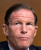 United States Senator Richard Blumenthal (Democrat of Connecticut) listens to the controversy prior to Judge Brett Kavanaugh giving testimony before the United States Senate Judiciary Committee on his nomination as Associate Justice of the US Supreme Court to replace the retiring Justice Anthony Kennedy on Capitol Hill in Washington, DC on Tuesday, September 4, 2018.<br /> Credit: Ron Sachs / CNP<br /> (RESTRICTION: NO New York or New Jersey Newspapers or newspapers within a 75 mile radius of New York City)