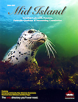 "Cover of  vancouver Island ""Mid Island""  Phone Directory featuring a Harbour Seal underwater."
