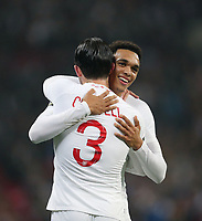 England's Trent Alexander-Arnold celebrates scoring his side's second goal with Ben Chilwell<br /> <br /> Photographer Rob Newell/CameraSport<br /> <br /> The Wayne Rooney Foundation International - England v United States - Thursday 15th November 2018 - Wembley Stadium - London<br /> <br /> World Copyright © 2018 CameraSport. All rights reserved. 43 Linden Ave. Countesthorpe. Leicester. England. LE8 5PG - Tel: +44 (0) 116 277 4147 - admin@camerasport.com - www.camerasport.com