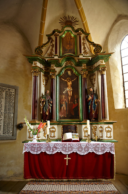 The Gothic Altar of the 14th Century Axente Sever Fortified Church, Transylvania.