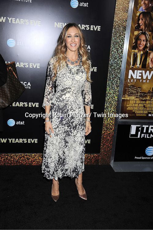 "Sarah Jessica Parker in Pauline Trigere vintage dress and Manolo Blahnak shoes attends The Special Screening of "" New Year's Eve"" on ..December 7, 2011 at The Ziegfeld Theatre in New York City. The evening is sponsored by AT & T and is benefitting The Tribeca Film Institute ."