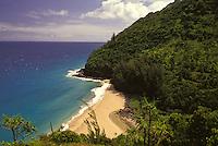 Hanakapiai Beach seen from the Kalalau Trail on Kauai's Na Pali Coast