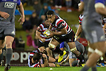 Fotu Lokotui takes the ball forward. The game of Three Halves, a pre-season warm-up game between the Counties Manukau Steelers, Northland and the All Blacks, played at ECOLight Stadium, Pukekohe, on Friday August 12th 2016. Photo by Richard Spranger.