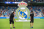 Real Madrid emblem is carried onto the pitch prior to the Santiago Bernabeu Trophy 2017 match between Real Madrid and ACF Fiorentina at the Santiago Bernabeu Stadium on 23 August 2017 in Madrid, Spain. Photo by Diego Gonzalez / Power Sport Images