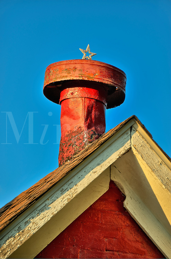 Rustic red chimney.