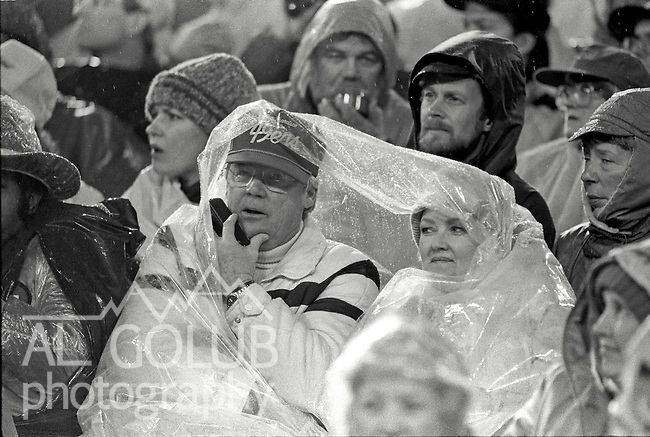 San Francisco 49ers vs Los Angles Rams at Candlestick Park Sunday, December 27, 1987..49ers beat Falcons 48-0.Caption.49er fans stay dry during game..