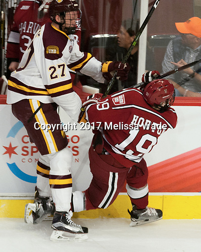 Riley Tufte (UMD - 27), Jake Horton (Harvard - 19) - The University of Minnesota Duluth Bulldogs defeated the Harvard University Crimson 2-1 in their Frozen Four semi-final on April 6, 2017, at the United Center in Chicago, Illinois.