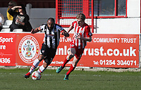 Dominic Vose of Grimsby Town attacks against Harvey Rodgers of Accrington Stanley <br /> during the Sky Bet League 2 match between Accrington Stanley and Grimsby Town at the Fraser Eagle Stadium, Accrington, England on 25 March 2017. Photo by Tony  KIPAX / PRiME Media Images.