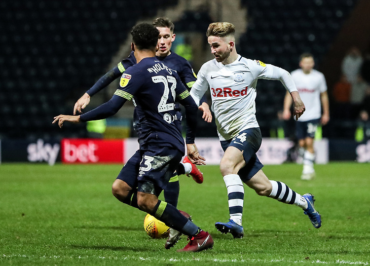 Preston North End's Sean Maguire competing with Derby County's Duane Holmes  <br /> <br /> Photographer Andrew Kearns/CameraSport<br /> <br /> The EFL Sky Bet Championship - Preston North End v Derby County - Friday 1st February 2019 - Deepdale Stadium - Preston<br /> <br /> World Copyright © 2019 CameraSport. All rights reserved. 43 Linden Ave. Countesthorpe. Leicester. England. LE8 5PG - Tel: +44 (0) 116 277 4147 - admin@camerasport.com - www.camerasport.com