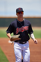 AZL Indians Blue left fielder Will Brennan (30) jogs off the field between innings of an Arizona League game against the AZL Indians Red on July 7, 2019 at the Cleveland Indians Spring Training Complex in Goodyear, Arizona. The AZL Indians Blue defeated the AZL Indians Red 5-4. (Zachary Lucy/Four Seam Images)