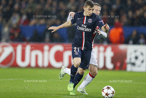Lucas Digne (PSG), NOVEMBER 25, 2014 - Football / Soccer : UEFA Champions League Group F match between Paris Saint-Germain 3-1 AFC Ajax at the Parc des Princes Stadium in Paris, France. (Photo by Mutsu Kawamori/AFLO) [3604]