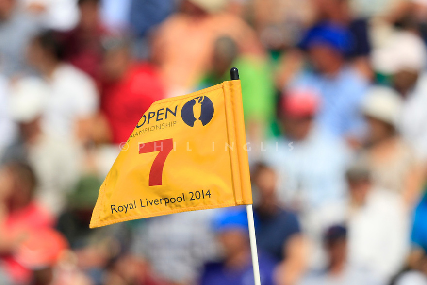 A pin flag during the second round of the 143rd Open Championship played at Royal Liverpool Golf Club, Hoylake, Wirral, England. 17 - 20 July 2014 (Picture Credit / Phil Inglis)