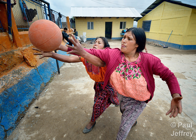 Indigenous women play basketball in Tuixcajchis, a small Mam-speaking Maya village in Comitancillo, Guatemala.