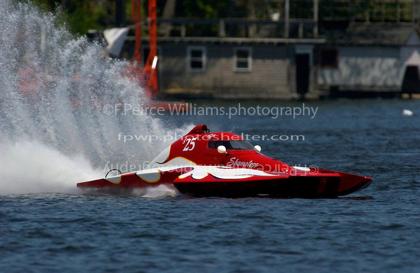"Bobby Kennedy, S-25 ""Shameless"",  2.5 Litre Stock hydroplane..Lake Hopatcong, NJ USA 17 May, 2003.©F. Peirce Williams 2003..F. Peirce Williams .photography.P.O.Box 455 Eaton, OH 45320.p: 317.358.7326  e: fpwp@mac.com."