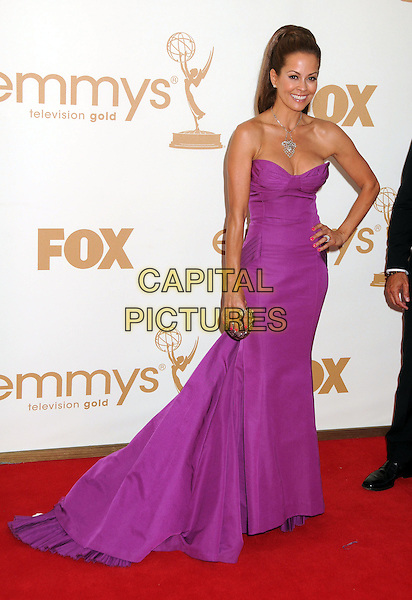 Brooke Burke  .63rd Primetime Emmy Awards held at Nokia Theatre L.A. Live. Los Angeles, California, USA. .18th September 2011.emmys full length purple dress strapless hand on hip.CAP/ADM/BP.©Byron Purvis/AdMedia/Capital Pictures.