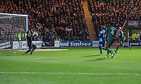 Adebayo Akinfenwa of Wycombe Wanderers scores his side's second goal during the Sky Bet League 2 match between Plymouth Argyle and Wycombe Wanderers at Home Park, Plymouth, England on 26 December 2016. Photo by Mark  Hawkins / PRiME Media Images.