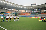 18 August 2008: Germany starting eleven sing their national anthem, pregame.  The women's Olympic soccer team of Brazil defeated the women's Olympic soccer team of Germany 4-1 at Shanghai Stadium in Shanghai, China in a Semifinal match in the Women's Olympic Football competition.