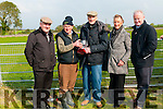 Gin Coursing : Paddy Reidy, Chairman, Glin Coursing Club makin a presentation to Gerry McCarthy, Irish Sporting Press journalist to mark his 50th year of Attendance at Glin coursing. L-R : Brian Divilly, President ICC, Paddy Reidy, Gerry McCarthy, Nuala Mangan & DJ Histon, Sec ICC.