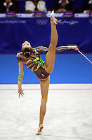 Oct 01, 2000; SYDNEY, AUSTRALIA:<br /> Yulia Raskina (BLR) performs with rope during rhythmic gymnastics final at 2000 Summer Olympics. Yulia took silver medal.
