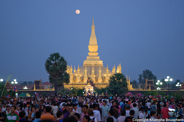 Thousands attend boun That Luang in Vientiane, Laos on Monday, November 2, 2009.  The festival is the largest national holiday in Laos.  (Photo by Khampha Bouaphanh)