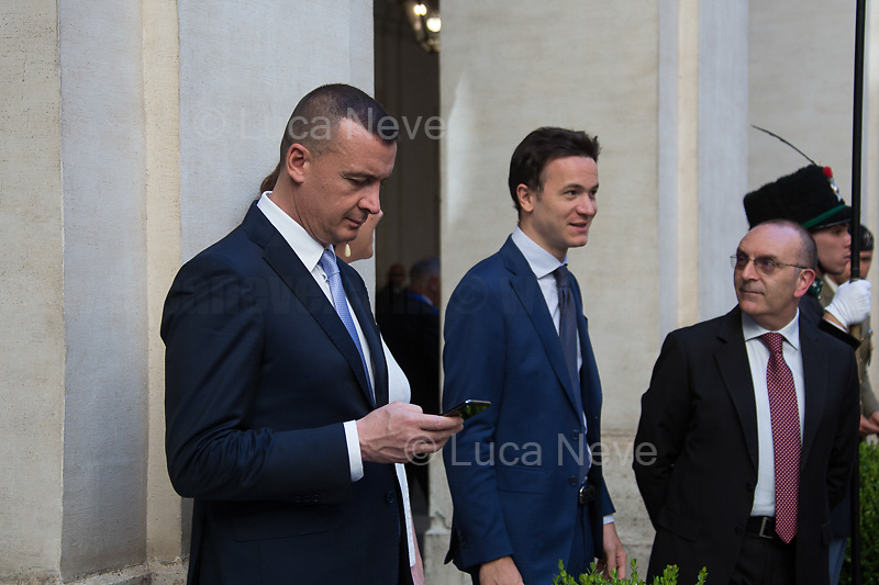 """Rocco Casalino (Spokesperson and press office head of the Italian Prime Minister Giuspeppe Conte, former Spokesperson and Coordinator of the National Communication for the Five Star Movement, Engineer and participant of the first Italian edition of the reality show """"Big Brother"""").<br /> <br /> Rome, 04/07/2019. Today, the four-time President of the Russian Federation, Vladimir Putin, visited Palazzo Chigi (Official Residence of the Italian Prime Minister and official meeting place of the Council of the Ministers) where he had a private meeting and a press conference with the Italian Prime Minister, Giuseppe Conte. During his visit to Italy, President Putin met Pope Francis, the President of the Italian Republic, Sergio Mattarella, and his old friend and Italian politician, Silvio Berlusconi.   <br /> <br /> Footnotes and Links:<br /> For a Video of the Press Conference please click here (Source, Palazzo Chigi on Youtube): https://youtu.be/4Bdssi0L9PI"""