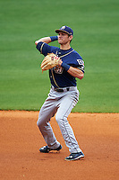 San Antonio Missions shortstop Trea Turner (4) throws to home for the out after fielding a ground ball during a game against the NW Arkansas Naturals on May 31, 2015 at Arvest Ballpark in Springdale, Arkansas.  NW Arkansas defeated San Antonio 3-1.  (Mike Janes/Four Seam Images)