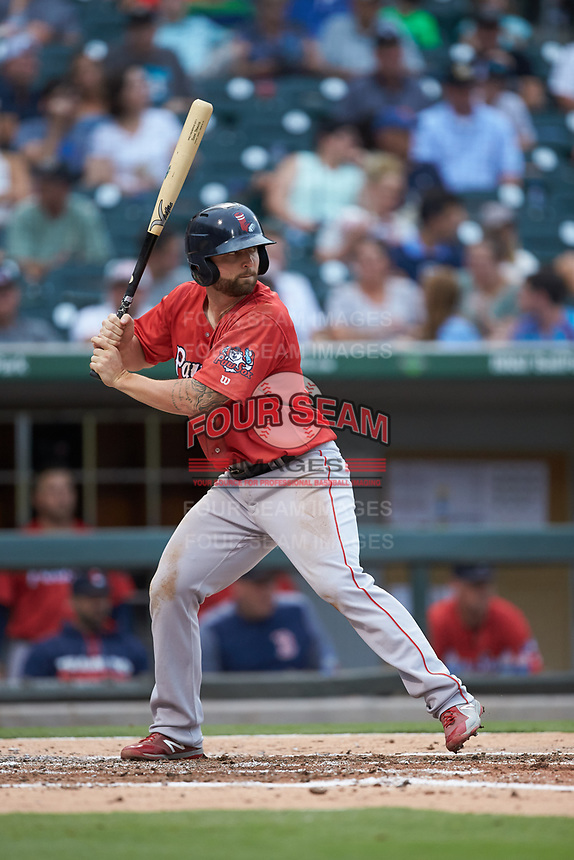 Sam Travis (15) of the Pawtucket Red Sox at bat against the Charlotte Knights at BB&T BallPark on July 19, 2018 in Charlotte, North Carolina. The Knights defeated the Red Sox 4-3.  (Brian Westerholt/Four Seam Images)