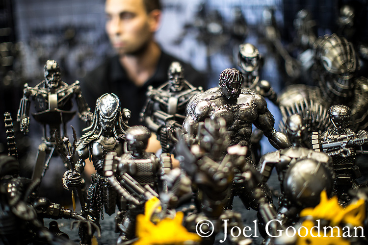 © Joel Goodman - 07973 332324. 30/07/2017 . Manchester , UK . Hand-made metal sculptures of science fiction characters for sale . Cosplayers, families and guests at Comic Con at the Manchester Central Convention Centre . Photo credit : Joel Goodman