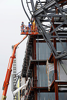 Steel workers welding Red Bull Arena after the topping off ceremony at Red Bull Arena in Harrison, NJ, on April 14, 2009.