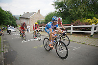 Tim De Troyer (BEL/Wanty-GroupeGobert) leading the race up the Mur de Huy<br /> <br /> 2014 Belgium Tour<br /> (final) stage 5: Oreye - Oreye (179km)