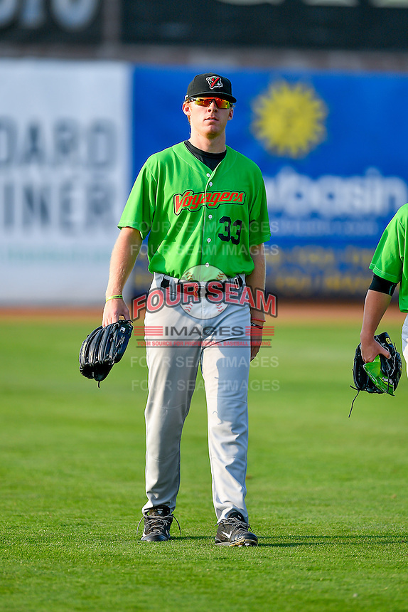 Jake Elliott (33) of the Great Falls Voyagers walks onto the field before the game against the Ogden Raptors in Pioneer League action at Lindquist Field on August 18, 2016 in Ogden, Utah. Ogden defeated Great Falls 10-6. (Stephen Smith/Four Seam Images)